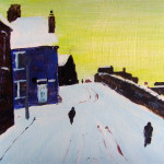 Yorkshire village.  Acrylic on board.29 by 22 cm. £ 150.